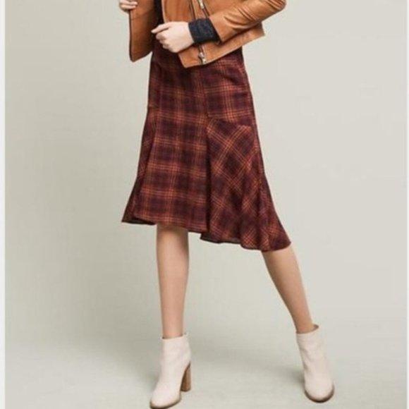 ANTHRO MAEVE Plaid Wool Skirt